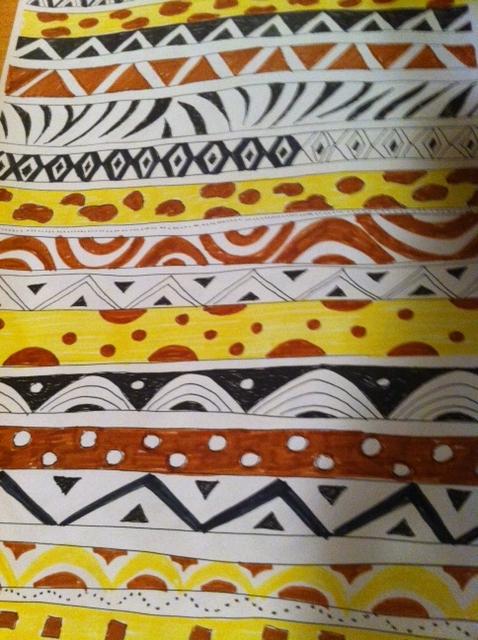 Afrikanische Muster Und Gestalten Somit Dekoration Im Stiegenhaus